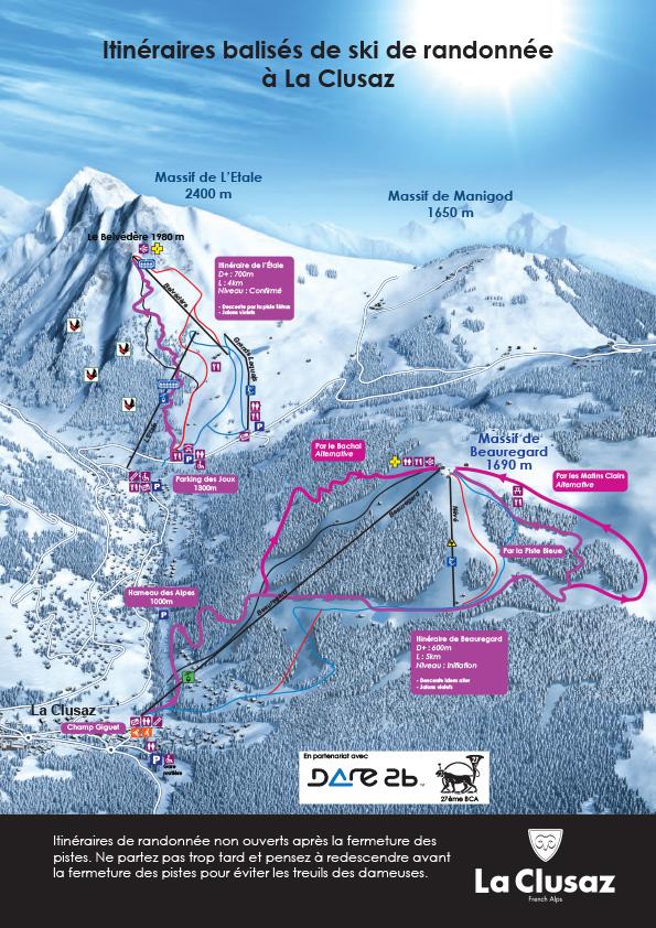 La Clusaz ski de rando itinéraire balisé